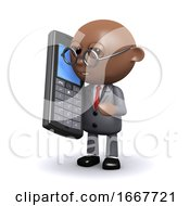 3d African American Businessman Uses A Mobile Phone
