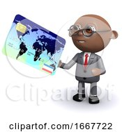 3d African American Businessman Uses A Card
