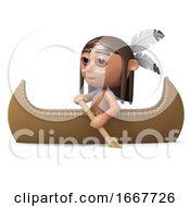 Poster, Art Print Of 3d Indian Boy In A Canoe