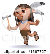 Poster, Art Print Of 3d Native American Indian Boy Leaps Through The Air