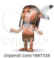 Poster, Art Print Of 3d Native American Indian Looks To The Sky