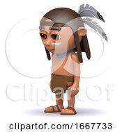 Poster, Art Print Of 3d Native American Indian Looks Sad