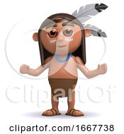 Poster, Art Print Of 3d Native American Indian With Arms Outstretched