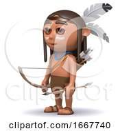 Poster, Art Print Of 3d Native American Indian Boy With Bow And Arrow