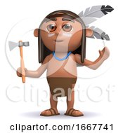 Poster, Art Print Of 3d Native American Indian Boy Raises His Arms