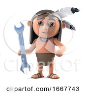 Poster, Art Print Of 3d Funny Cartoon Native American Indian Character Holding A Spanner