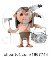 3d Funny Cartoon Native American Indian Boy Goes Shopping With A Basket