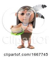 3d Funny Cartoon Native American Indian Character Eats A Beef Burger