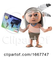 3d Funny Cartoon Native American Indian Character Pays With A Debit Card