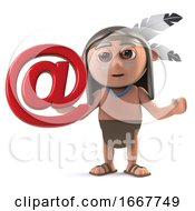 Poster, Art Print Of 3d Funny Cartoon Native American Indian Character With Email Address Symbol