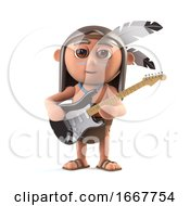 Poster, Art Print Of 3d Funny Cartoon Native American Indian Plays Electric Guitar