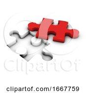 Poster, Art Print Of 3d Red Piece Jigsaw