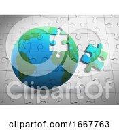 Poster, Art Print Of 3d Earth Jigsaw