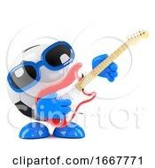 3d Football Guitarist