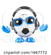 3d Football Dude Listens On Headphones