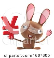 Poster, Art Print Of 3d Cute Cartoon Easter Bunny Rabbit Has Japanese Yen Currency Symbol