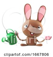 Poster, Art Print Of 3d Cute Cartoon Easter Bunny Rabbit Character Waters His Garden