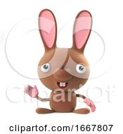 Poster, Art Print Of 3d Cute Cartoon Easter Bunny Rabbit Character Waves Hello