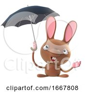 Poster, Art Print Of 3d Cute Cartoon Easter Bunny Rabbit Character Has An Umbrella