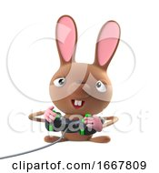 Poster, Art Print Of 3d Cute Cartoon Easter Bunny Rabbit Character Plays A Video Game