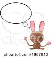 Poster, Art Print Of 3d Cute Cartoon Easter Bunny Rabbit Character Has An Idea