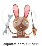 Poster, Art Print Of 3d Cute Cartoon Easter Bunny Rabbit Character Has A Spanner And Screwdriver
