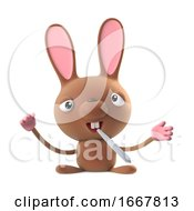 Poster, Art Print Of 3d Cute Cartoon Easter Bunny Rabbit Smokes Medical Marijuana