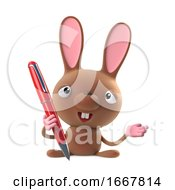 Poster, Art Print Of 3d Cute Cartoon Easter Bunny Rabbit Character Holding A Pen