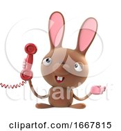 Poster, Art Print Of 3d Cute Cartoon Easter Bunny Rabbit Character Answers The Phone