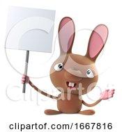 Poster, Art Print Of 3d Cute Cartoon Easter Bunny Rabbit Character Holding A Placard