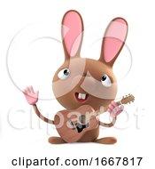 Poster, Art Print Of 3d Funny Cartoon Easter Bunny Rabbit Plays Acoustic Guitar