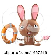 Poster, Art Print Of 3d Cute Cartoon Easter Bunny Rabbit Comes To The Rescue