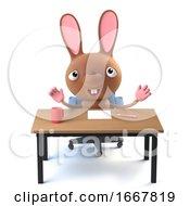 Poster, Art Print Of 3d Cute Cartoon Easter Bunny Rabbit Sitting At His Desk