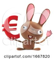 Poster, Art Print Of 3d Cute Cartoon Easter Bunny Rabbit Character Has A Euro Currency Symbol