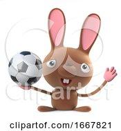 Poster, Art Print Of 3d Cute Cartoon Easter Bunny Rabbit Loves Football