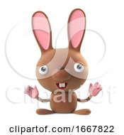 Poster, Art Print Of 3d Cute Cartoon Easter Bunny Rabbit Is Cheering With Joy