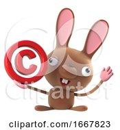 Poster, Art Print Of 3d Cute Cartoon Easter Bunny Has A Copyright Symbol