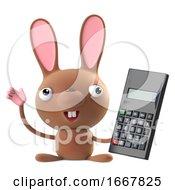 Poster, Art Print Of 3d Cute Easter Bunny Rabbit Has A New Calculator