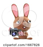 Poster, Art Print Of 3d Cute Cartoon Easter Bunny Rabbit Takes A Photo With His Camera