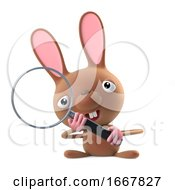 Poster, Art Print Of 3d Cute Cartoon Easter Bunny Rabbit Using A Magnifying Glass