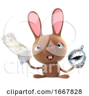 Poster, Art Print Of 3d Cute Cartoon Easter Bunny Rabbit With Compass And Map