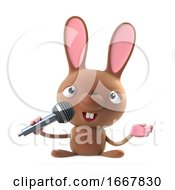 Poster, Art Print Of 3d Cute Cartoon Easter Bunny Rabbit Sings The Blues On A Microphone