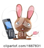 Poster, Art Print Of 3d Cute Cartoon Easter Bunny Rabbit Character Chats On A Cellphone
