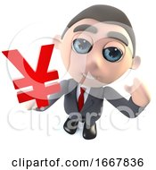 Funny Cartoon 3d Businessman Character Holding A Yen Currency Symbol