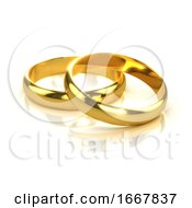 Poster, Art Print Of 3d Two Gold Rings