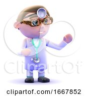 Poster, Art Print Of 3d Doctor Gestures To The Left