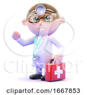 Poster, Art Print Of 3d Doctor With First Aid Kit