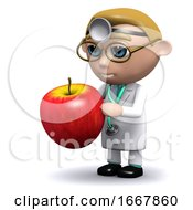 Poster, Art Print Of 3d Doctor Has An Apple