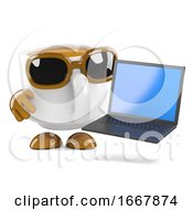 Poster, Art Print Of 3d Coffee Cup Laptop User
