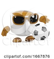 Poster, Art Print Of 3d Coffee Cup Plays Football